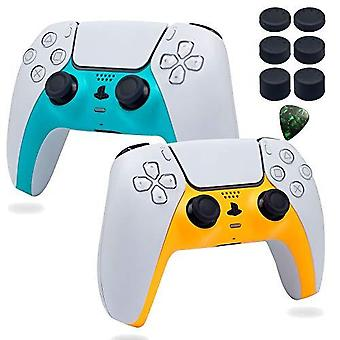 Decoratieve Shell Case Cover Skin Vervanging Set Voor Ps5 Draadloze Controller Playstation 5 Console Diy Game Accessoires met Thumb Stick Caps (blauwe Ye