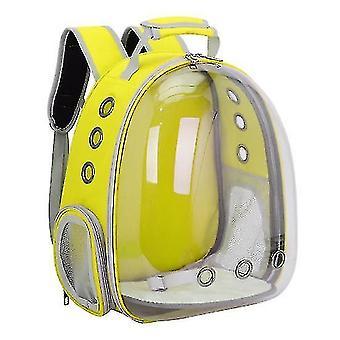 Cat Carrier Rucsac, Space Capsule Knapsack Pet Travel Bag impermeabil respirabil (galben)