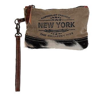 Travel Vanity Case DKD Home Decor New York Marron Beige Cuir Coton (20 x 2 x 13 cm)