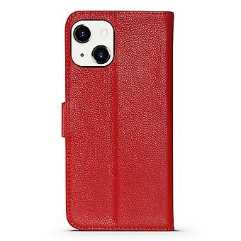 Para iPhone 13 Case Fashion Cowhide Genuine Leather Wallet Cover Rojo