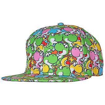 Nintendo Yoshi Characters All Over Sublimated Snapback Adjustable Hat