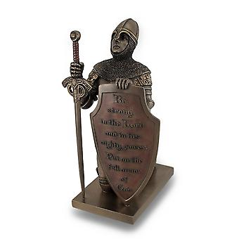 Templar Knight seid stark In dem Herrn Bronze-Finish-Statue