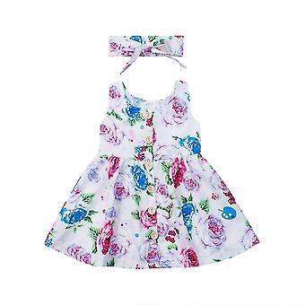 Baby Letní květinová princezna šaty bez rukávů a čelenka