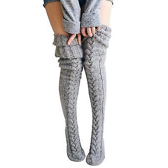 גרביים סרוגות לנשים מעל הרכבת התחתית הארוכה בברך התארכו גרבי ערימה (אפור)