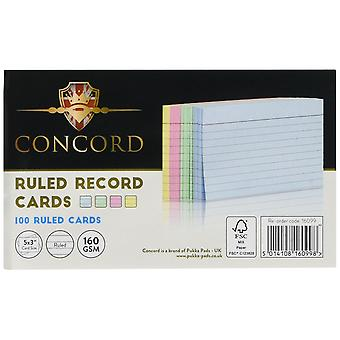 File folders record card smooth 127x77mm assorted ref 16099 [pack of 100]