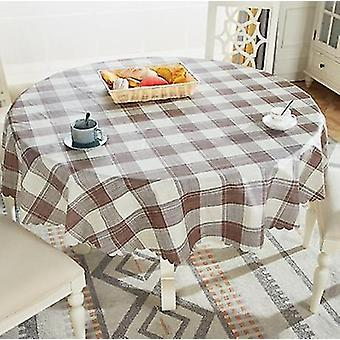 Tablecloths 150cm waterproof round tablecloth european-style household round plastic tablecloth brown