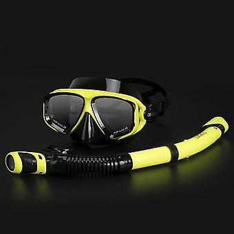 Regulowany zestaw masek do nurkowania z rurką z goglami przeciwmgielnym (czarny żółty)