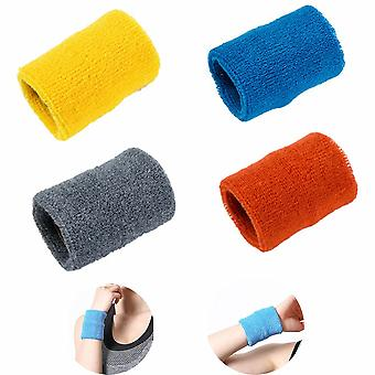 Colorful Sports Wristbands Wristbands Absorbent Wristbands For Basketball Football Fitness Athletics Sweat Absorbent Sports Bracelet (4 Pieces, Blue,