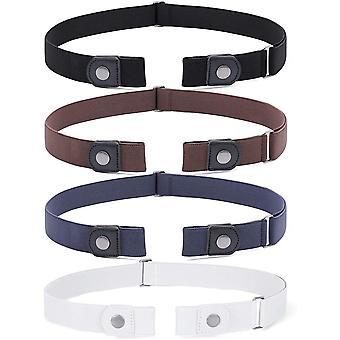 3pcs Elastischer Gürtel, Unisex Stretch Gürtel für Jeans, Schwarz Braun Blau