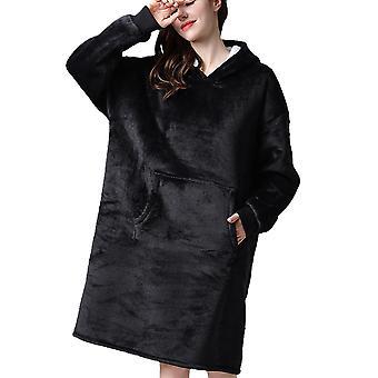 Yunyun Femme Décontractée Longue Flanelle À Capuche Robe Soft Sleepwear Loungewear