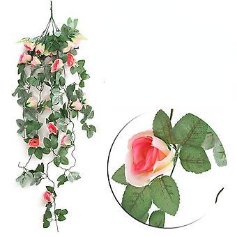 קישוט קיר עשוי פרחים מלאכותיים וראטן