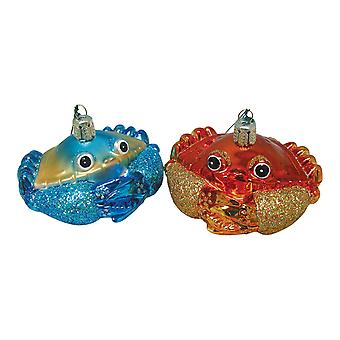 Beachcombers Coastal Red and Maryland Blue Crab Blown Glass Ornaments Set