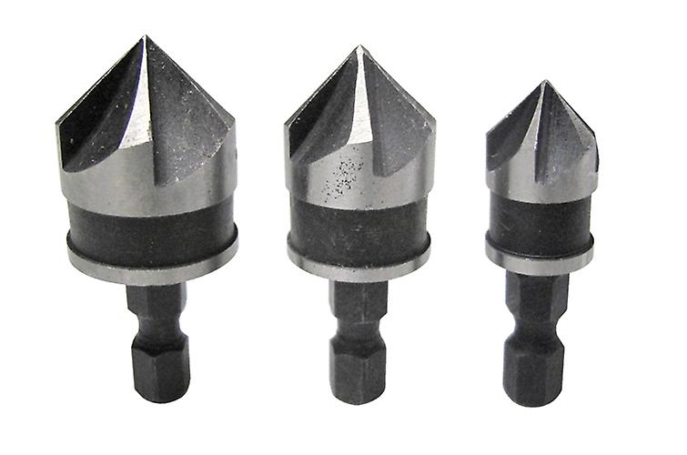 Bluespot Set of Countersink Drill Bits 3PC Heavy Duty Heat Treated Carbon Steel for Strength 12, 16 & 19mm