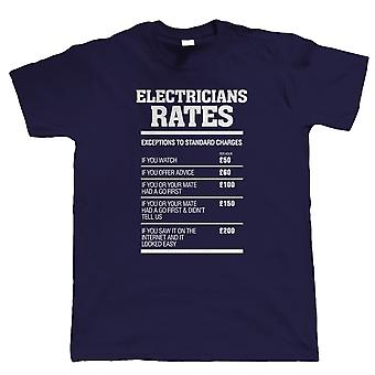 Electricians Rates Mens Funny T Shirt - Gift for Electrician Dad Him Grandad
