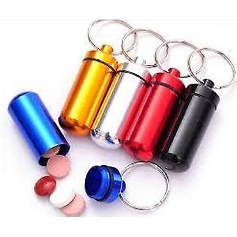 Boolavard Aluminum Pill Box Case Bottle Holder Container Keychain Key Chain Key Ring (Gold)