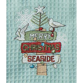 Merry Christmas Seaside Embroidered Waffle Weave Kitchen Dish Towel