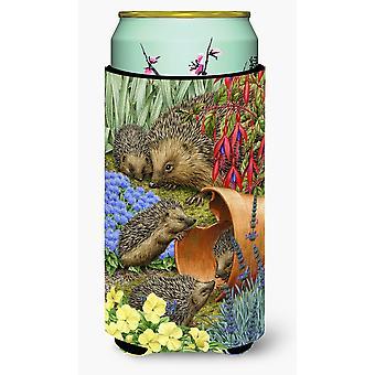 Hedgehogs in the Flower Pot Tall Boy Beverage Insulator Hugger