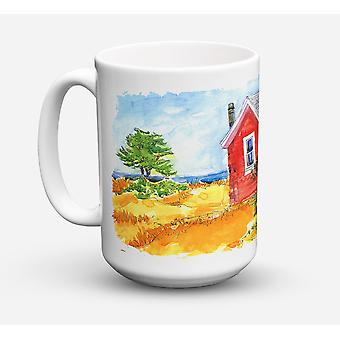 Old Red Cottage House at the lake or Beach Dishwasher Safe Microwavable Ceramic