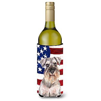 USA American Flag with Schnauzer Wine Bottle Beverage Insulator Hugger
