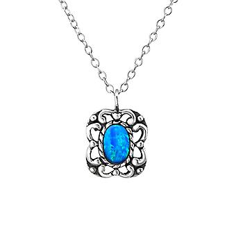 Oval - plata de ley 925 Jewelled collares - W23660x