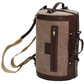 Canvas & Leather Trim Backpack Barrel Rucksack Shoulder Bag Weekend Case