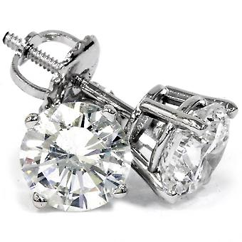 2 ct Ohrstecker Runde Diamanten Schraube zurück in 14k Weissgold verbessert