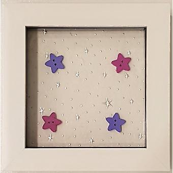 Laura Ann Cards Framed Twinkle Twinkle Stars Girl White Small Frame