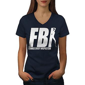Offensive Witz Funy Frauen NavyV-Ausschnitt T-shirt | Wellcoda