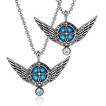 Engelsflügel Erzengel Gabriel Liebespaare oder besten Freunden Set Schild Amulett Anhänger Halsketten