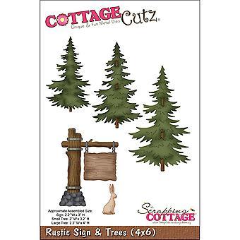 CottageCutz dör-rustik skylt & amp; Träd 2,2