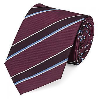 Tie stropdas stropdas 8cm wijn rood blauw Fabio Farini-wit gestreepte stropdas