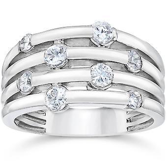 14K vitguld 1ct Real Diamond högra Hand Ring
