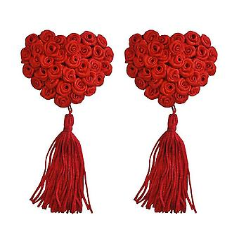 Red Rose Nipple Tassels - Heart Shape