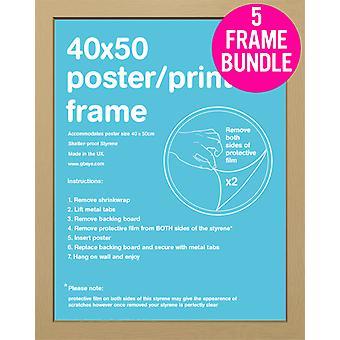 GB Posters 5 Oak Mini Poster Frames 40x50cm Bundle
