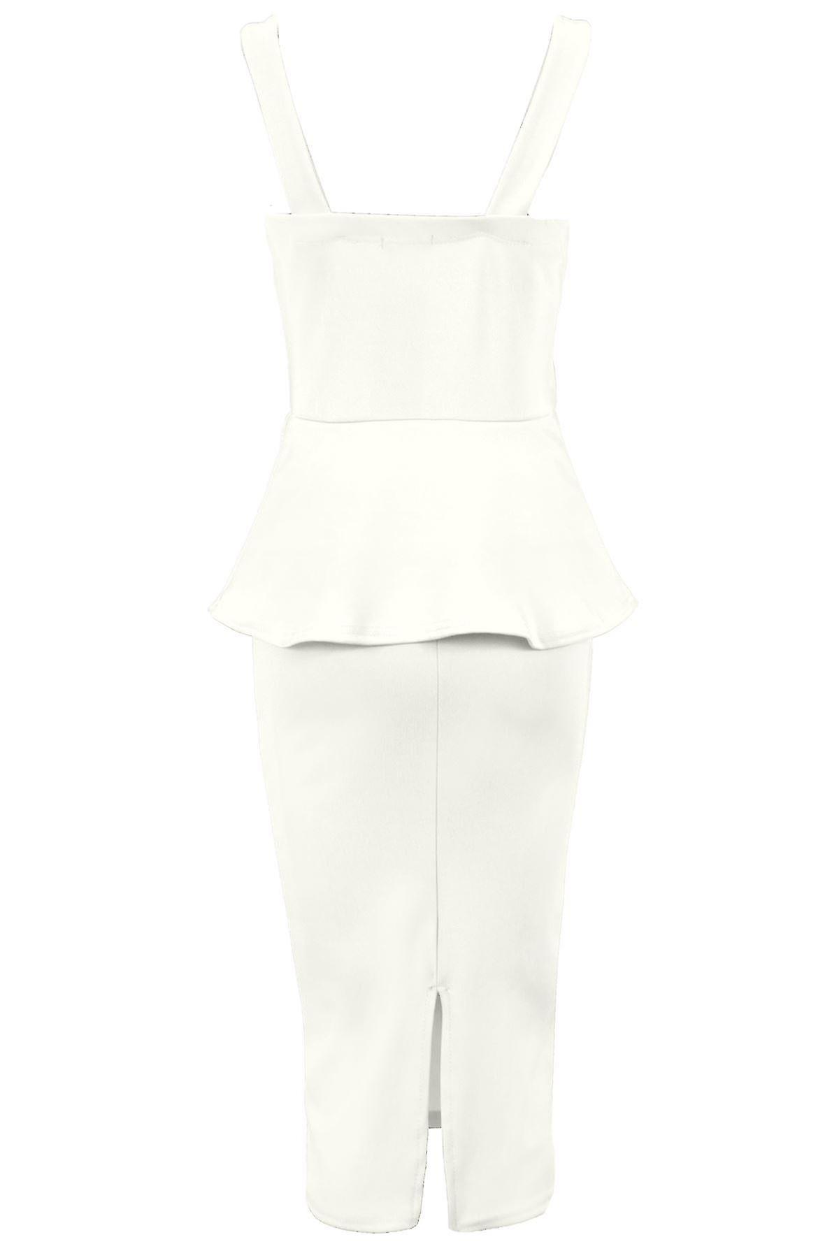 Ladies Criss Cross Front PVC Strip Peplum Women's Knee Length Bodycon Dress