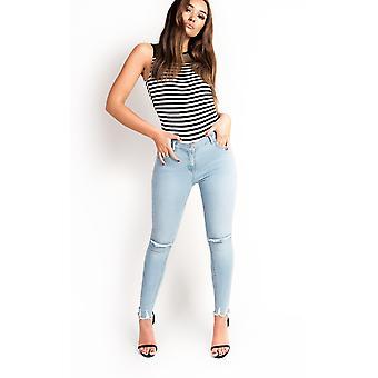 IKRUSH Womens Aimee High Neck Mesh Stripe Bodysuit