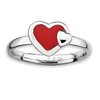 925 Sterling Sølv Rhodium belagt stabelbare udtryk poleret rød emaljeret Love Heart Ring smykker Gaver til kvinder -