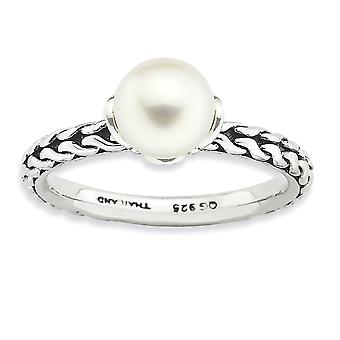 925 Sterling Silver Stackable Expressions 7.0 7.5mm White Freshwater Cultured Pearl Ring Jewelry Gifts for Women - Ring
