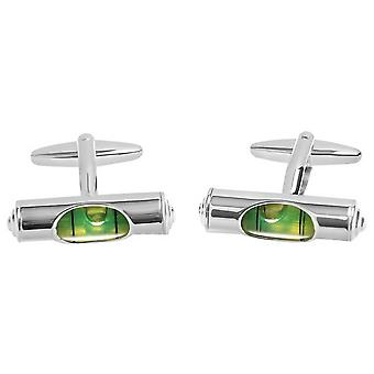 Zennor Spirit Level Cufflinks - Green/Silver