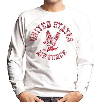 US Airforce Eagle Red Text Men's Sweatshirt