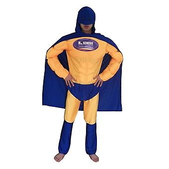 Superheroes in blue and yellow outfit costume