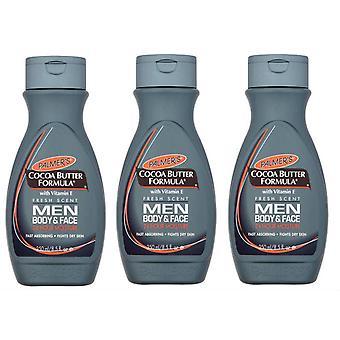 Homens de Fórmula Palmer manteiga de cacau corpo & Face loção 250ml (3-Pack)