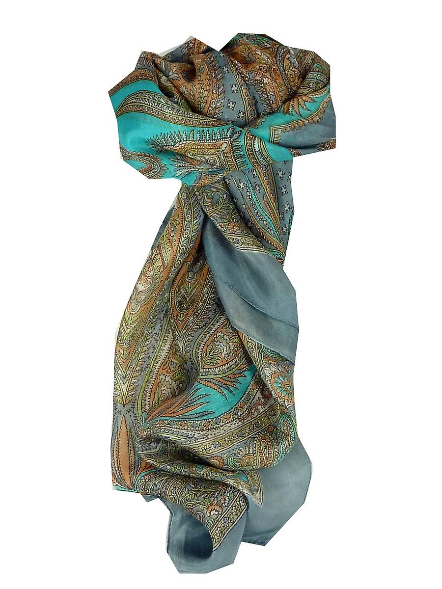 Mulberry Silk Classic Square Scarf Harisa Grey by Pashmina & Silk