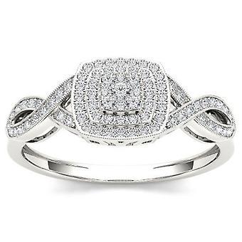 Igi-certifierad 10k vitt guld 0,25 ct diamant kluster halo förlovningsring