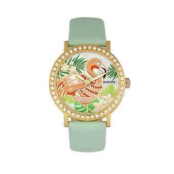 Bertha Luna Mother-Of-Pearl Leather-Band Watch - Mint