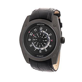 Heritor Daniels automático relógio de couro-banda semi esqueleto - preto