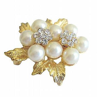 Beautiful Gold Plated Vintage Bow Pearls Brooch Pin