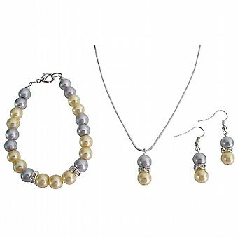 Pearl Pendant Earrings Drop Down Set In Yellow Gray Pearl Holiday Gift