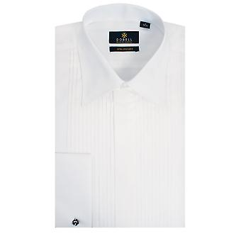 Dobell Mens White Dress Shirt Slim Fit 100% Cotton Standard Collar Double Cuff Pleated Fly Front Extra Long Sleeve