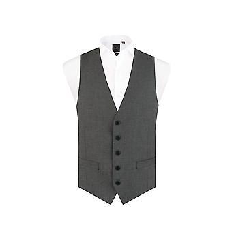 Dobell Herre lys grå jakkesæt vest regelmæssig Fit 5 knap rejse/ydeevne